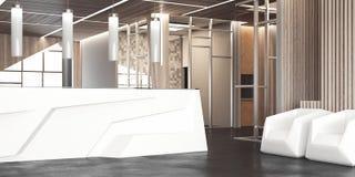 Stor korridor med det vita kontorsmottagandet och stolar, tolkning 3d Arkivbild