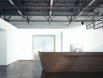 Stor korridor med det vita trätabellmottagandet, tolkning 3d Arkivfoto