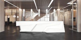 Stor korridor med kontorsmottagande framförande 3d Royaltyfri Bild