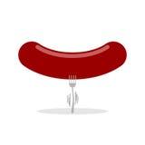 Stor korv och liten gaffel Illustrationen för bantar Royaltyfri Foto