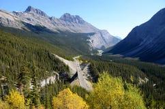 Stor krökning på den Icefield gångallén i höst, kanadensiska steniga berg, Kanada Fotografering för Bildbyråer