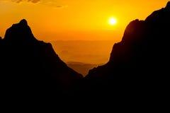 Stor krökningnationalpark på solnedgången Arkivfoton