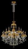 Stor kristallkrona med stearinljus som isoleras på svart bakgrund Royaltyfri Fotografi