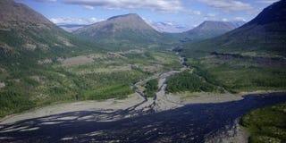 stor kureika mest russia siberia för putorana för panoramaplatå kraftig vattenfall arkivfoton