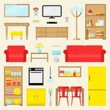 Stor lägenhetmöblemanguppsättning Modernt möblemang för vardagsrum, matsal och kök royaltyfri illustrationer
