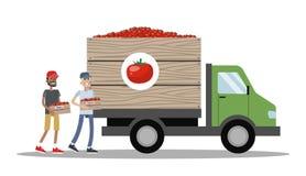 Stor lastbil mycket av askar med tomaten vektor illustrationer