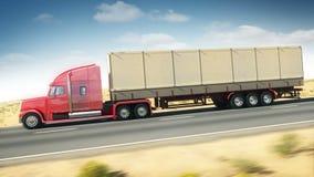 Stor lastbil på en huvudväg lager videofilmer
