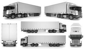 stor lastbilbakgrund för 6 x - tom modell för att brännmärka för design Arkivfoto