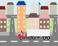 Stor lastbilflyttning igenom Royaltyfri Fotografi