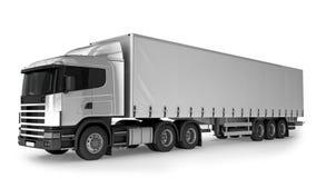 Stor lastlastbil på vit bakgrund Arkivbild