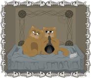 stor liten kattfamiljkattunge Lycka Stock Illustrationer