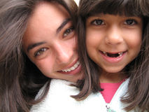 stor liten syster Royaltyfria Bilder