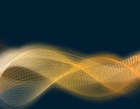 stor ljus deltagarekapacitet för effekter Abstrakta åtskilda vågor av guld- färg i glödet av ett glöd harmonilära Isolatorer på e royaltyfri illustrationer