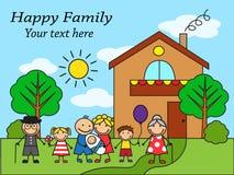 Stor lycklig familj för tecknad film nära huset Arkivfoton