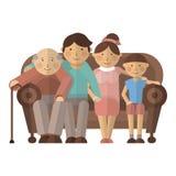 Stor lycklig familj på soffan Arkivfoto