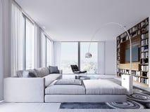 Stor lyxig hörnsoffa med en fåtölj nära de panorama- fönstren med en härlig sikt av staden vektor illustrationer