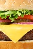 stor makro för cheeseburgercloseuphamburgare Arkivfoton
