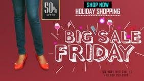 Stor mall för design för försäljningsBlack Friday inskrift Svart fredag baner illustration Fotografering för Bildbyråer