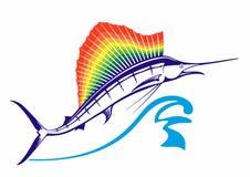 Stor marlins hopp Från marlinen eller svärdfisken för vattenhopp med den rygg- fena för regnbåge Fena i regnbågefärger stock illustrationer