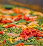 Stor maträtt av paella Arkivfoto
