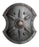 Stor metallsköld med den stjärna isolerade illustrationen 3d royaltyfri illustrationer