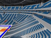 Stor modern basketarena med blåa platser Arkivfoto