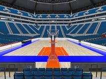 Stor modern basketarena med blåa platser Royaltyfri Foto