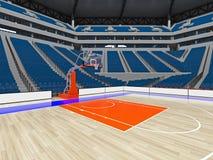 Stor modern basketarena med blåa platser Arkivbild