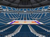 Stor modern basketarena med blåa platser Arkivbilder