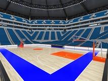 Stor modern basketarena med blåa platser Royaltyfri Bild
