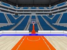 Stor modern basketarena med blåa platser Fotografering för Bildbyråer