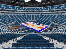 Stor modern basketarena med blåa platser Royaltyfri Fotografi