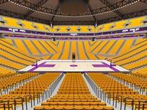 Stor modern basketarena med gula platser Royaltyfria Foton