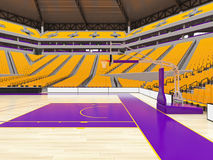 Stor modern basketarena med gula platser Royaltyfria Bilder