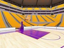 Stor modern basketarena med gula platser Royaltyfri Bild