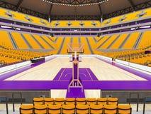 Stor modern basketarena med gula platser Royaltyfri Foto