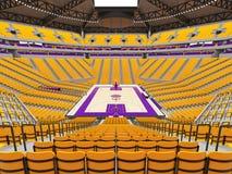 Stor modern basketarena med gula platser Arkivfoto
