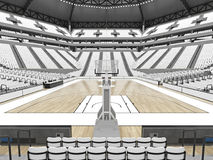 Stor modern basketarena med vita platser Arkivbilder