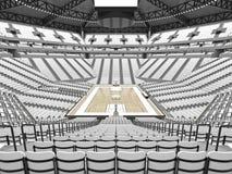 Stor modern basketarena med vita platser Arkivfoton