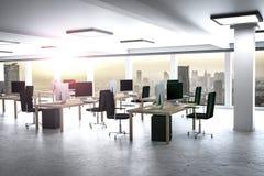 Stor modern stads- illustration för kontorshorisont 3d Arkivfoton