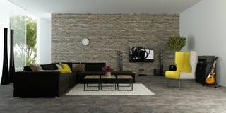 Stor modern vardagsrum med den texturerade brytningväggen Royaltyfria Bilder
