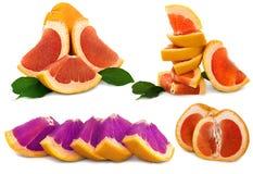 Stor mogen grapefrukt på den vita ljus och mycket saftig citruns för bakgrund, med ingen bakgrund arkivbilder