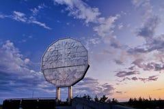 Stor myntgränsmärke Fotografering för Bildbyråer
