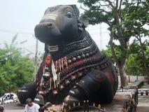 Stor Nandi staty på Nandi Hills nära banglore Arkivbilder