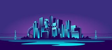 Stor neonstad stock illustrationer