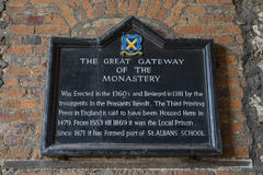 Stor nyckel av kloster i St Albans Fotografering för Bildbyråer