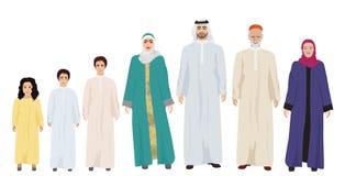 Stor och lycklig arabisk familjvektorillustration Arkivfoton