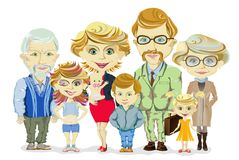 Stor och lycklig familjstående med barn, föräldrar, morföräldervektor Royaltyfri Fotografi