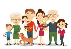 Stor och lycklig familjstående med barn, föräldrar, morföräldervektor Arkivfoton