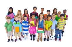 Stor olik grupp av barn Arkivfoto